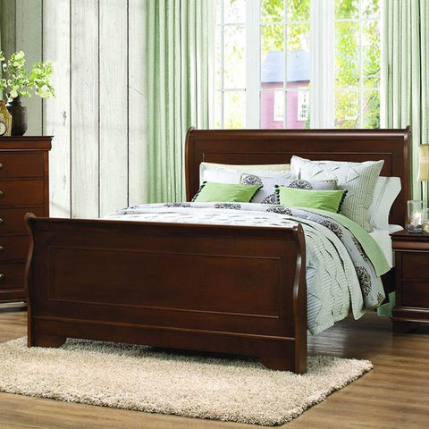 Homelegance Abbeville Sleigh Bed in Brown Cherry