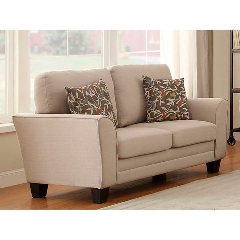 Homelegance Adair Love Seat With 2 Pillows In Beige Fabric