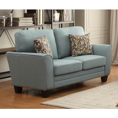 Homelegance Adair Love Seat With 2 Pillows In Teal Fabric