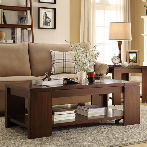 Homelegance Akerman Cocktail Table w/ Lift Top on Casters in Warm Cherry