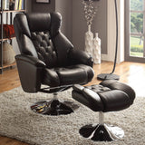 Homelegance Aleron Swivel Reclining Chair w/ Ottoman in Black Leather