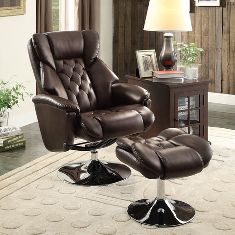 Homelegance Aleron Swivel Reclining Chair w/ Ottoman in Dark Brown Leather