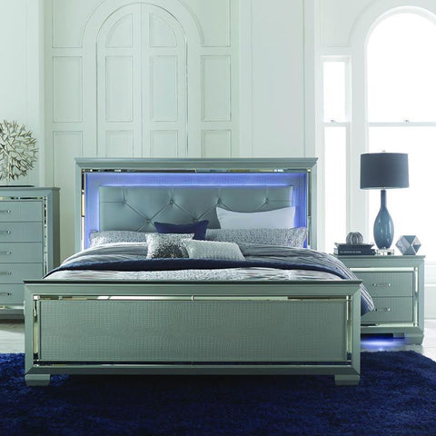 Homelegance Allura 2 Piece Panel Bedroom Set w/ LED Lighting in Silver