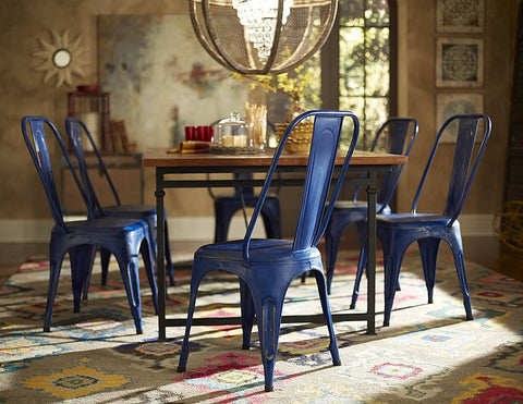 Homelegance Amara Metal Side Chair in Blue