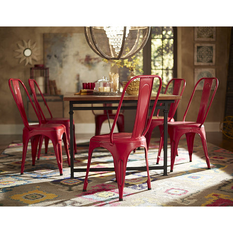 Homelegance Amara Metal Side Chair in Red