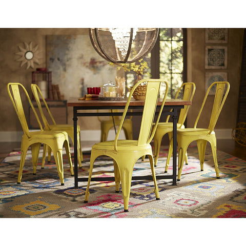 Homelegance Amara Metal Side Chair in Yellow