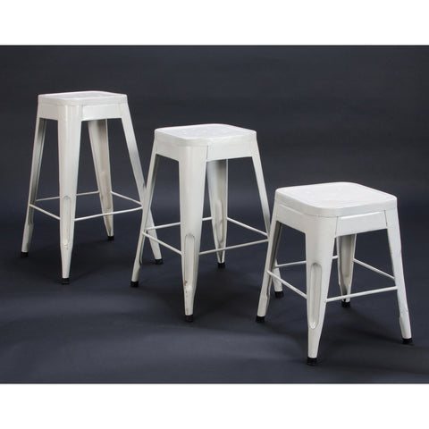 Homelegance Amara Metal Stool in White