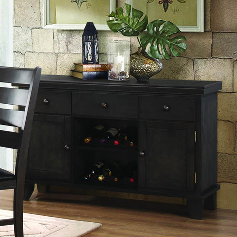 Homelegance Ameillia 3 Drawer Server w/Wine Rack in Dark Oak