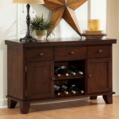 Homelegance Ameillia 52 Inch Server w/ 2 Wine Racks in Dark Oak