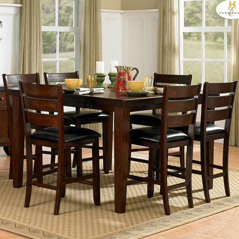 Homelegance Ameillia 7 Piece Extension Square Counter Height Table Set