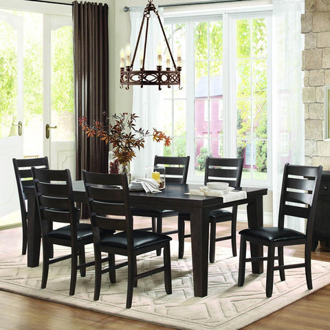 Homelegance Ameillia 7 Piece Rectangular Dining Room Set in Dark Oak