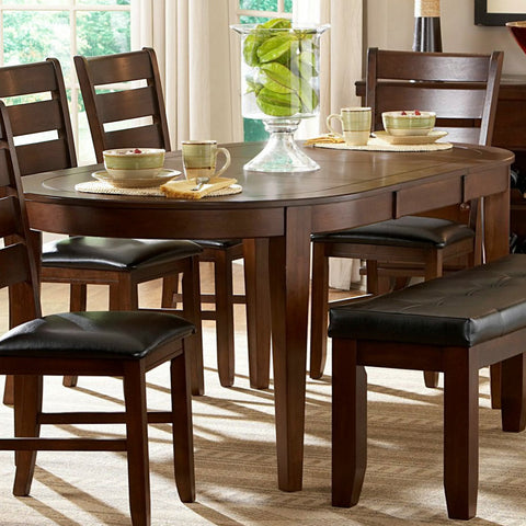 Homelegance Ameillia Butterfly Leaf Oval Dining Table in Dark Oak