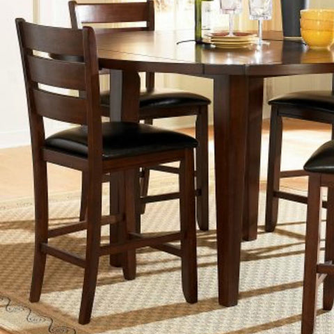 Homelegance Ameillia Ladder Back Counter Height Chair in Dark Brown