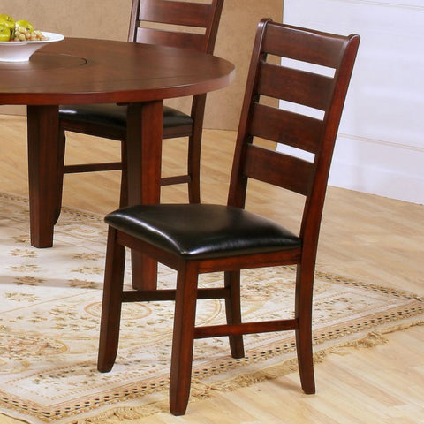 Homelegance Ameillia Ladder Back Side Chair in Dark Brown Vinyl