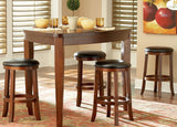Homelegance Ameillia Triangle Counter Height Table in Dark Oak