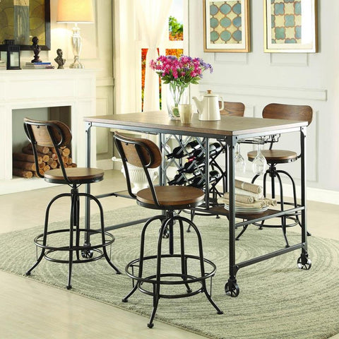 Homelegance Angstrom 5 Piece Counter Height Table Set w/Counter Height Chairs in Light Oak