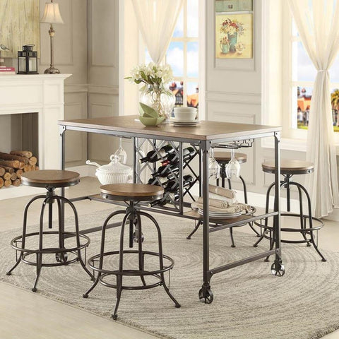 Homelegance Angstrom 5 Piece Counter Height Table Set w/Counter Height Stools in Light Oak