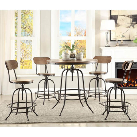 Homelegance Angstrom 5 Piece Round Counter Height Table Set w/Counter Height Chairs in Light Oak