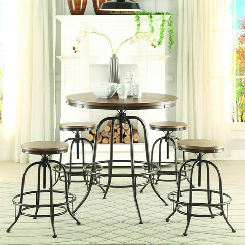 Homelegance Angstrom 5 Piece Round Counter Height Table Set w/Counter Height Stools in Light Oak