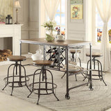 Homelegance Angstrom Counter Height Table w/Wine Rack in Light Oak