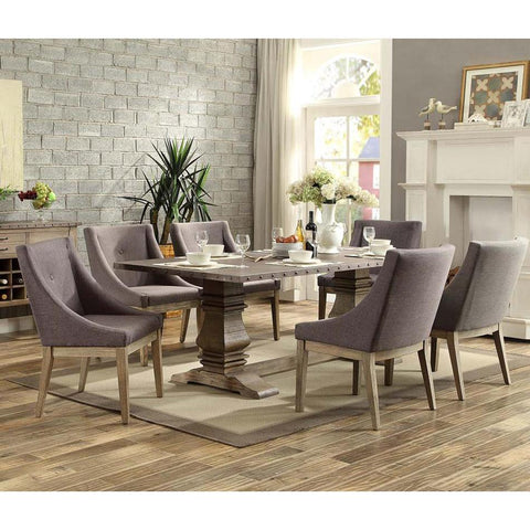 Homelegance Anna Claire 7 Piece Dining Room Set w/Curved Arm Chairs in Driftwood