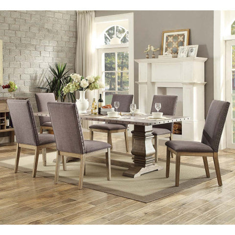 Homelegance Anna Claire 7 Piece Dining Room Set w/Side Chairs in Driftwood