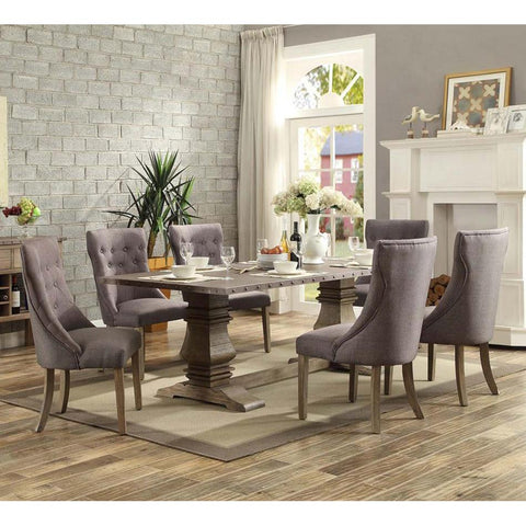 Homelegance Anna Claire 7 Piece Dining Room Set w/Side Wing Chairs in Driftwood