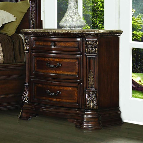 Homelegance Antoinetta 3 Drawer Nightstand w/Marble Top in Warm Cherry