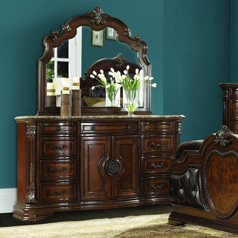 Homelegance Antoinetta 9 Drawer 2 Door Dresser & Mirror w/Marble Top in Warm Cherry