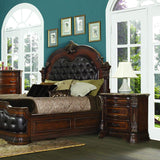 Homelegance Antoinetta Panel Bed w/Upholstered Headboard & Footboard in Warm Cherry