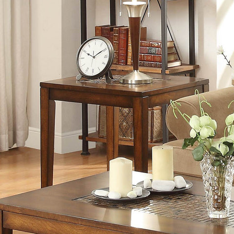 Homelegance Antoni End Table in Warm Brown Cherry