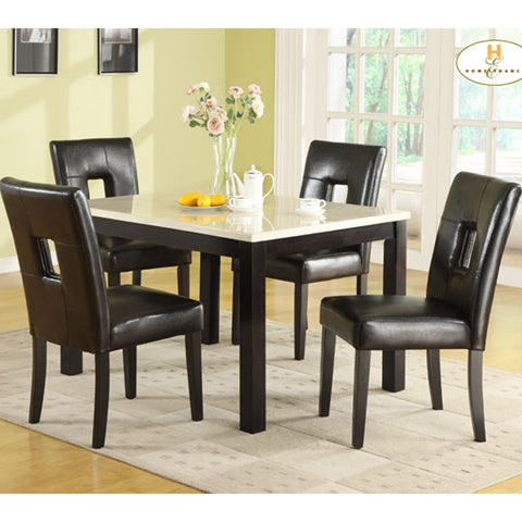 Homelegance Archstone 5 Piece 48 Inch Dining Room Set w/ Black Chairs