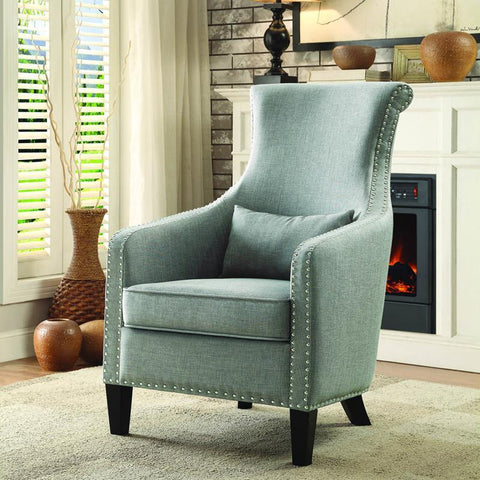 Homelegance Arles Accent Chair w/Kidney Pillow in Grey