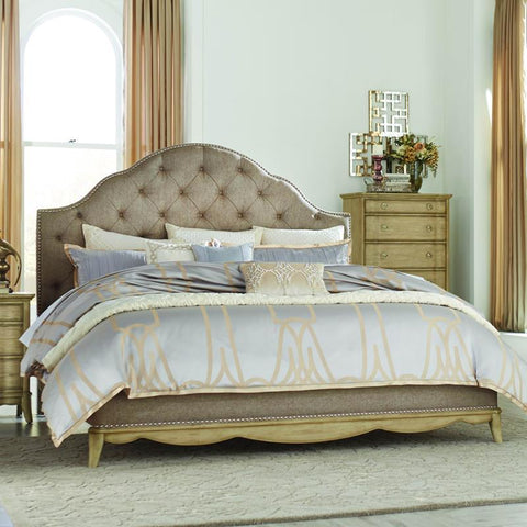 Homelegance Ashden Platform Bed w/Upholstered Headboard in Driftwood