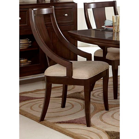 Homelegance Aubriella Chair With Curved Arms, Fabric In Rich Brown Cherry / Neutral Tone Fabric