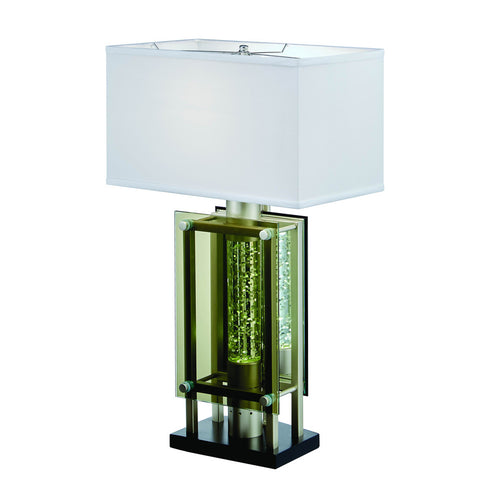 Homelegance Aura Table Lamp in Glass & Satin Nickel Metal