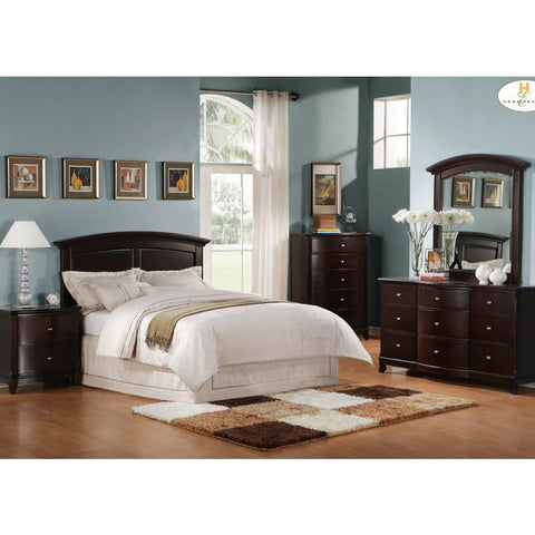 Homelegance Chico 5 Piece Queen/Full Headboard Bedroom Set in Dark Cherry