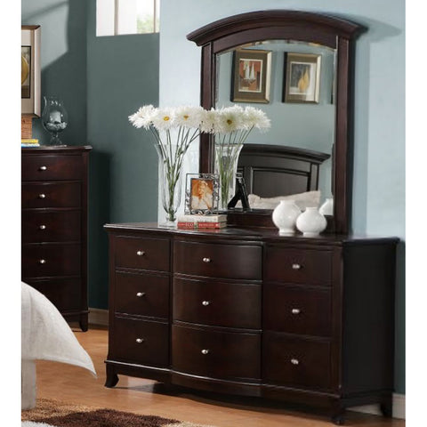 Homelegance Chico 9 Drawer Dresser w/ Mirror in Dark Cherry