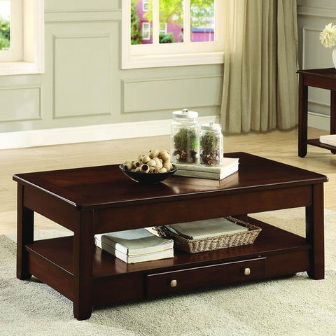 Homelegance Ballwin Cocktail Table w/Lift Top & Functional Drawer on Casters in Cherry