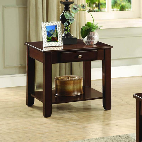 Homelegance Ballwin End Table w/Functional Drawer in Cherry