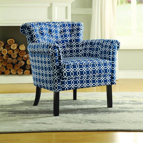 Homelegance Barlowe Accent Chair in Chain Link Print