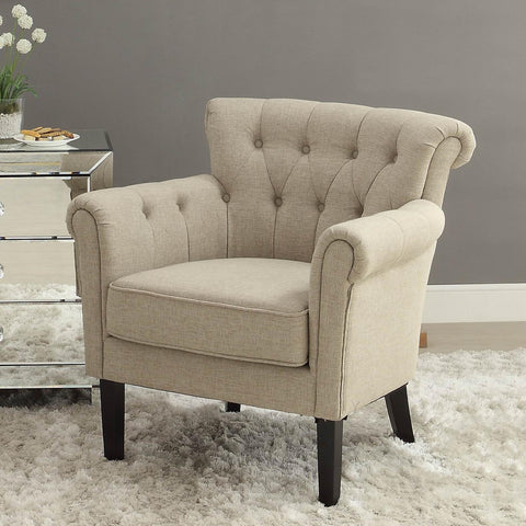 Homelegance Barlowe Upholstered Accent Chair in Linen