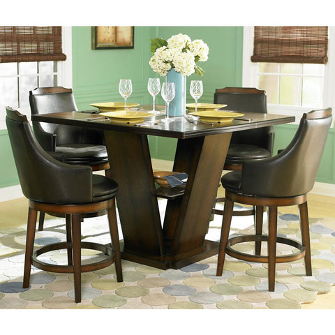Homelegance Bayshore 5 Piece Pedestal Counter Height Table Set in Oak
