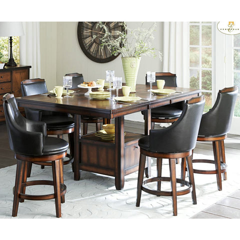 Homelegance Bayshore 7 Piece Counter Height Table Set w/ Storage Base