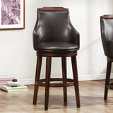 Homelegance Bayshore Swivel Pub Height Chair in Dark Brown Bi-Cast Vinyl