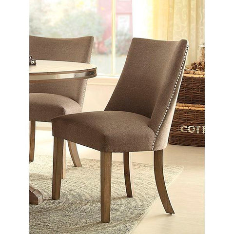 Homelegance Beaugrand Fabric Side Chair In Light Oak / Grey Fabric W / Brown Tone