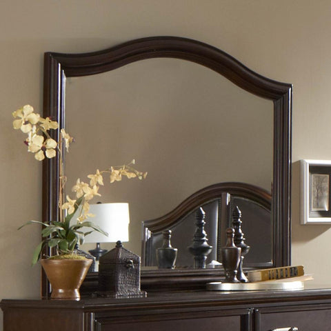 Homelegance Beaux Arched Mirror in Dark Cherry