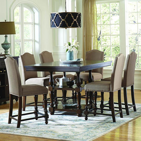 Homelegance Benwick 7 Piece Counter Height Table Set w/Storage Base in Dark Cherry