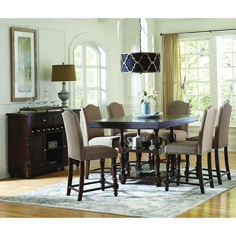 Homelegance Benwick 8 Piece Counter Height Table Set w/Storage Base in Dark Cherry