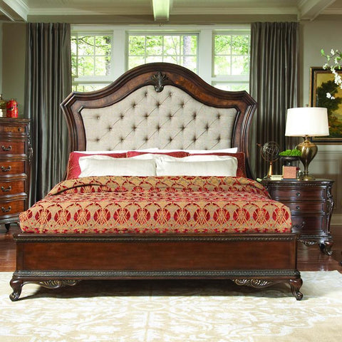 Homelegance Bonaventure Park 2 Piece Platform Bedroom Set w/Upholstered Headboard in Warm Cherry